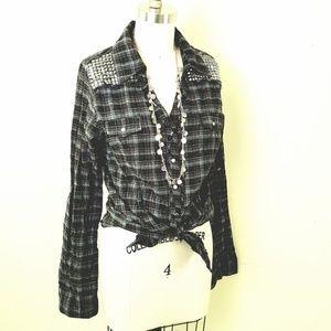 Daytrip // Cotton Studded Plaid Tunic Top Dress